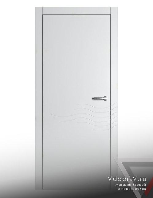 Окрашенная дверь Волна RAL-белый.