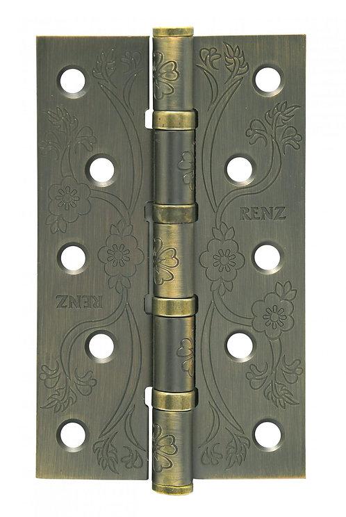 Петля ст. декор РЕНЦ 125*75*2,5, 4подш., плоск. колп. , бронза античная матовая
