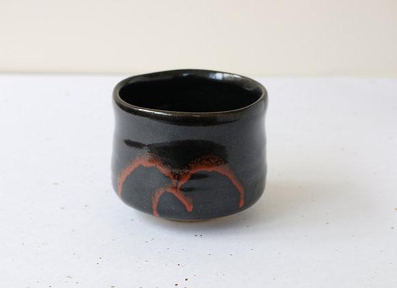 (美濃焼-黒筒茶碗) Minoyaki Chawan- Black