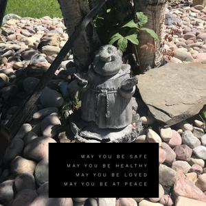 The monk in my back yard rock garden.