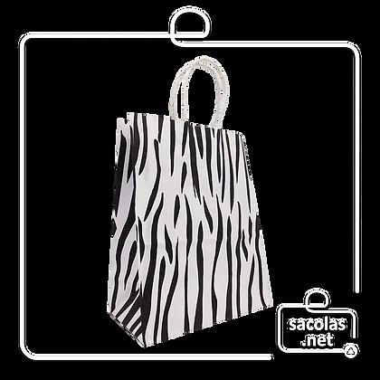 Sacola Branca Zebra 22 x 18 x 8 cm (AxLxP) - pacote com 5 unidades