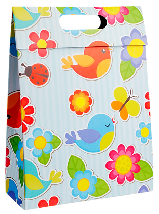 Sacola Caixa Pássaros 24 x 18 x 7 cm (AxLxP) - pacote com 5 unidades