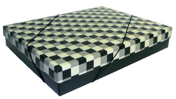 Caixa Presente Xadrez G Tampa e Fundo 36x28x6 cm - pacote com 3 unidades