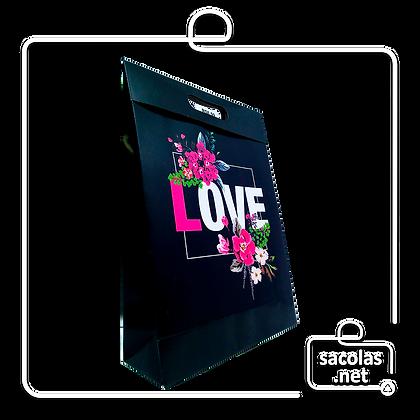 Sacola-Caixa Presente Love Cent 37 x 26 x 9 cm (AxLxP) - pacote com 3 unidades