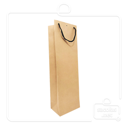 Sacola Kraft para 1 garrafa 39 x 12 x 8 cm (AxLxP) - pacote com 40 unidades