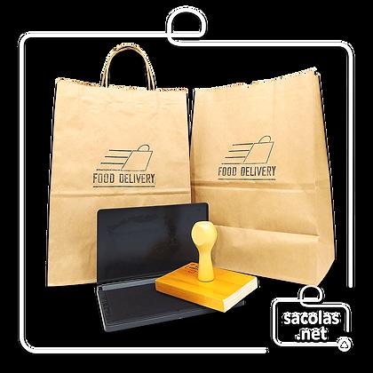 Carimbo 15x15 cm + Almofada para personalizar sacos e sacolas