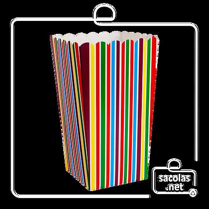 Caixa Pipoca Listras 15 x 8,5 x 8,5 cm (AxLxP) - pacote com 5 unidades