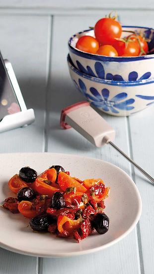 tomaten, oliven, mediterran, gericht, rezept des monats, kochen, app, kulinarik, kochbuch, kochanleitung