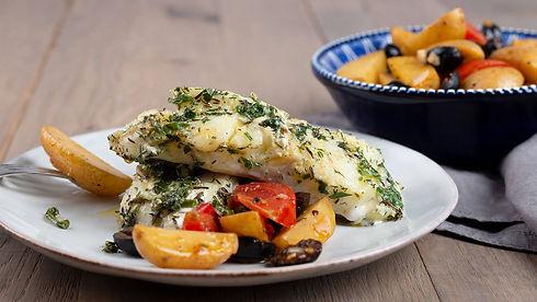 heilbutt, fisch, mediterran, katalanisch, kartoffeln, gericht, rezept des monats, kochen, app, kulinarik, kochbuch, kochanleitung