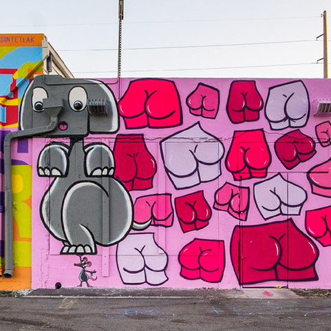 Cheeky Mural by Pinky Weber