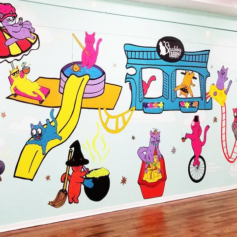 Shabby Tabby Cat Cafe Mural 2018