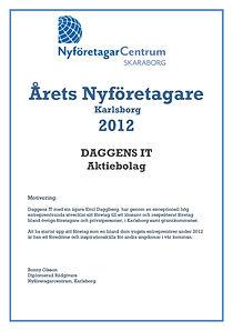 Daggens IT årets nyföretagare 2012