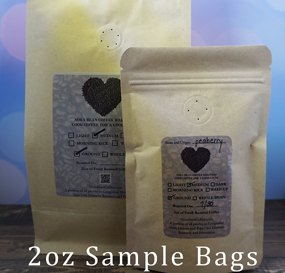 6oz bag of Peaberry, Salmo or Columbian Decaf