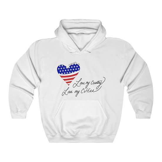 Love My Country Love My Coffee Unisex Heavy Blend™ Hooded Sweatshirt