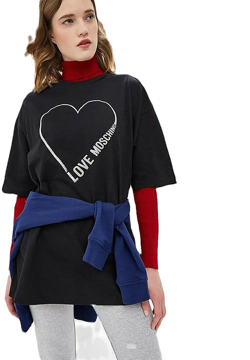 Love moschino - T-Shirt Donna Oversize Con Logo Glitter