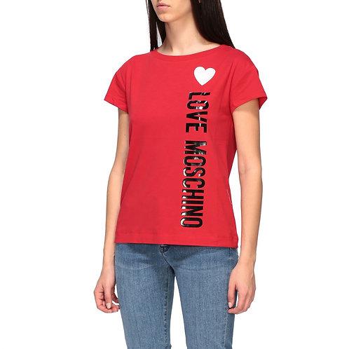 Love Moschino - T-Shirt Love Moschino Rossa Con Cuore Heart W4F301QE169