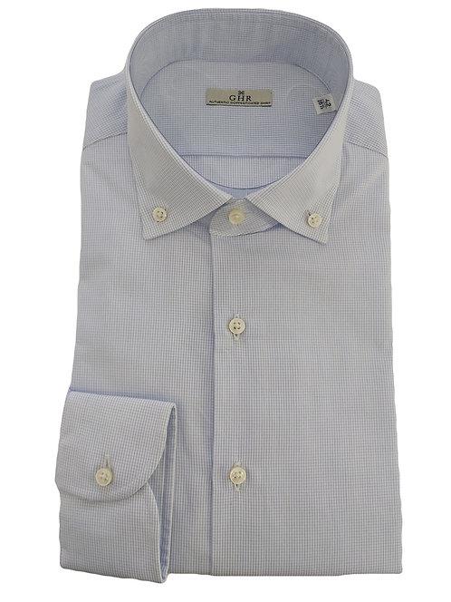 GHR- Camicia Uomo Ghirardelli A Quadri Azzurra Chiaro