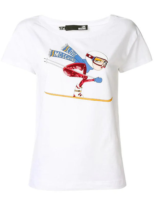 Love Moschino- T-shirt Donna Con stampa Sci