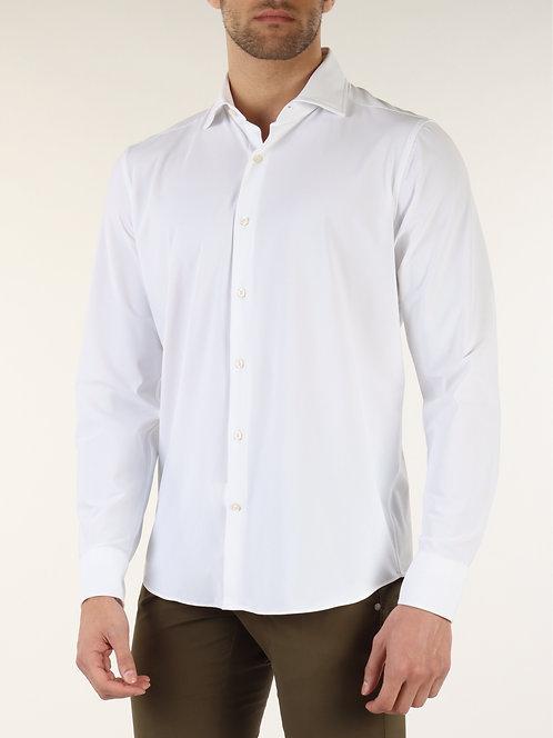 GHR- Camicia Uomo Ghirardelli In Tessuto Tecnico Extra Stretch Bianca