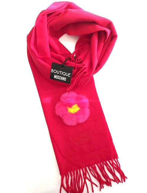 Boutique Moschino - Sciarpa Donna In Lana  Con Fiore in Pelliccia Di Lapin