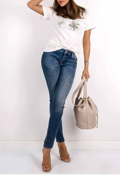 Love Moschino - Jeans Donna con Cuore Glitter