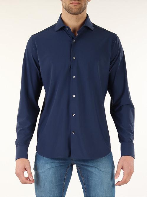 GHR- Camicia Uomo Ghirardelli In Tessuto Stretch Blu