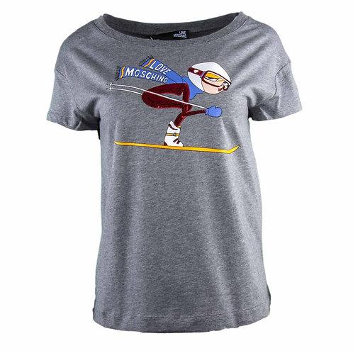 Love Moschino- T-shirt Donna Con stampa Sci