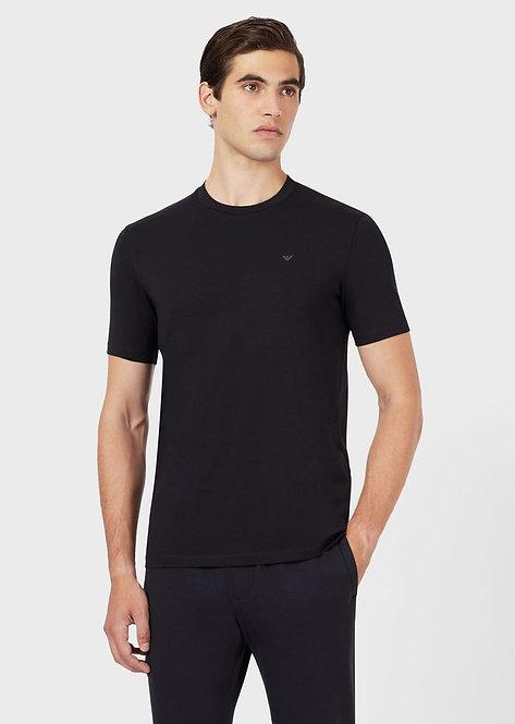 Emporio Armani - T-Shirt Uomo In Cotone Blu Con Logo 6H1TS21JJRZ