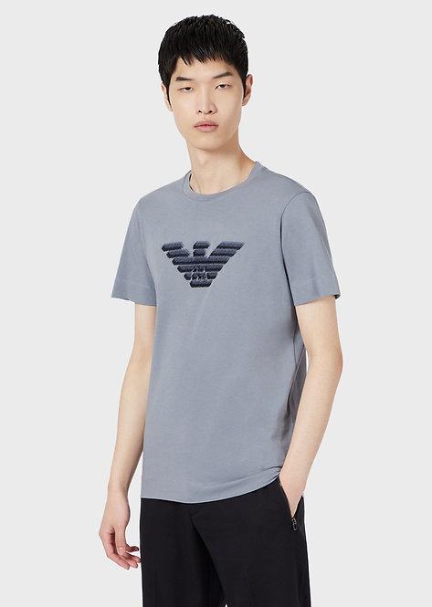 Emporio Armani- T-shirt Emporio Armani In Jersey Con Maxi Logo Aquila