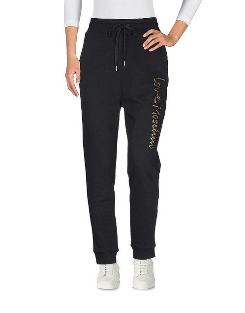 Love  Moschino- Pantalone Tuta Felpa Nero Con Logo W139507M4068