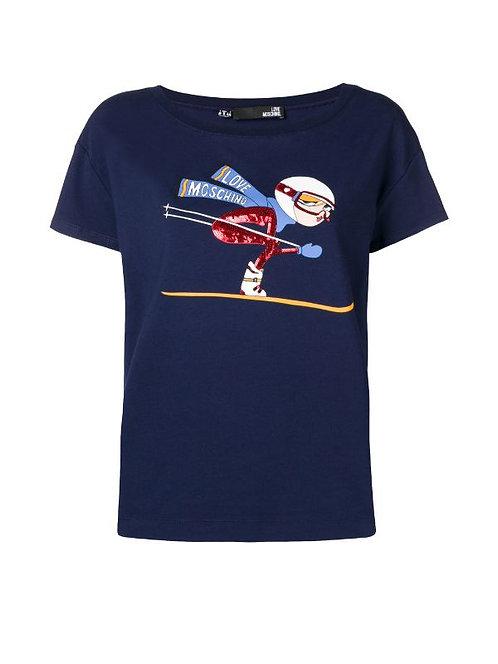 Love Moschino - T-Shirt Donna Con Stampa Sci