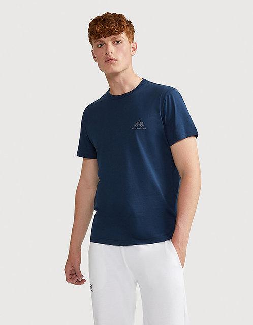 La Martina- T-shirt Uomo Blu Con Logo Man S/S Jersey T-shirt CCMR02