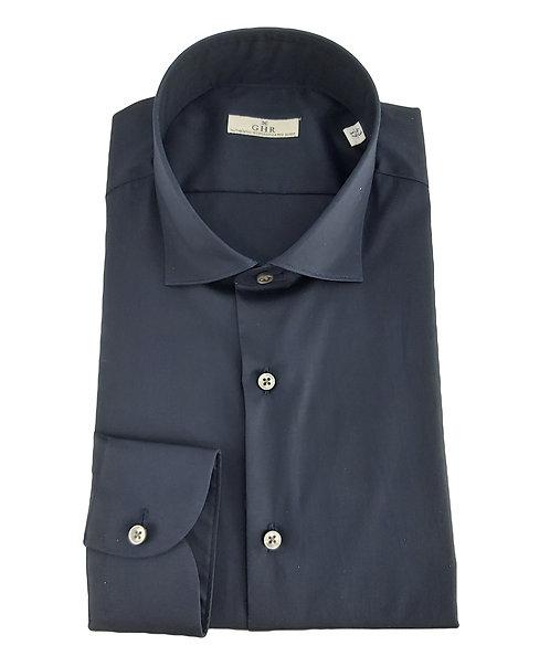 Ghirardelli GHR- Camicia Uomo  Blu Stretch Collo Francese Con Pences