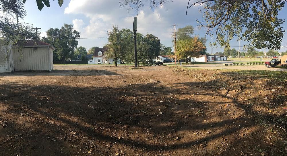Parking lot after outside demolition