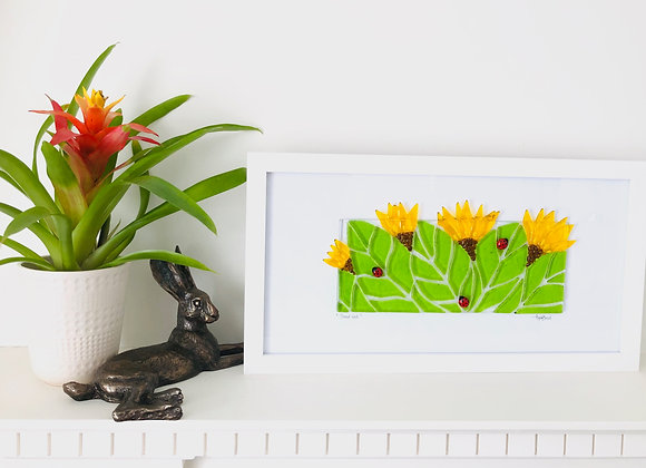 Fused Glass Sunflower Framed Art