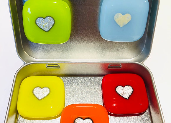 Set of Silver Heart Fridge Magnets