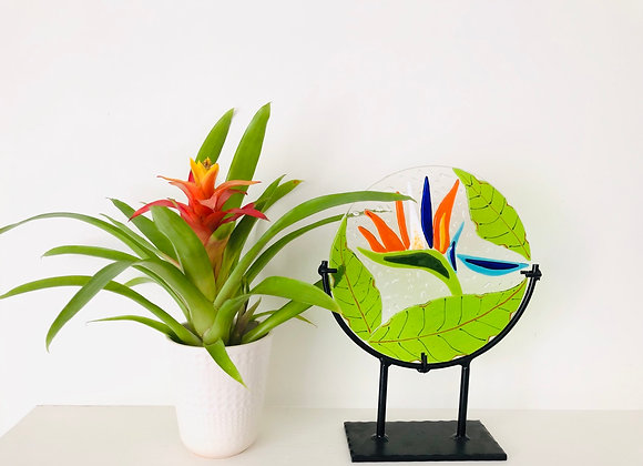 Strelitzia panel with wrought iron stand