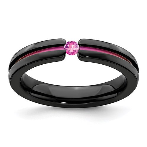 Edward Mirell Black Ti Pink Sapphire And Pink Anodized 4mm Band