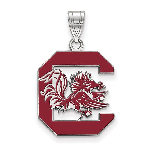 Sterling Silver Rh LogoArt University Of South Carolina Large Enamel Pendant