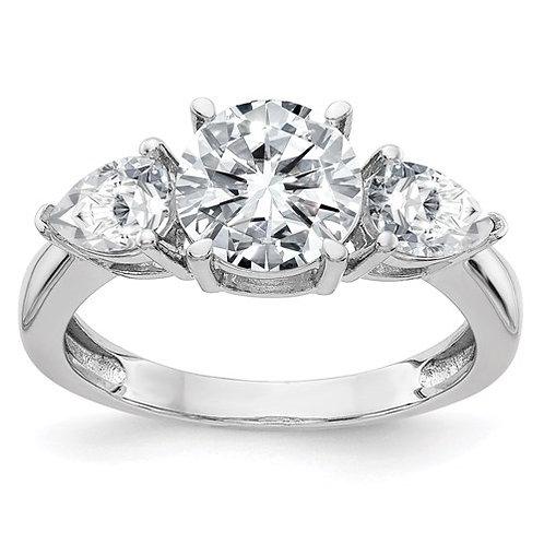 14K Gold 3-Stone Engagement Ring True Light Moissanite
