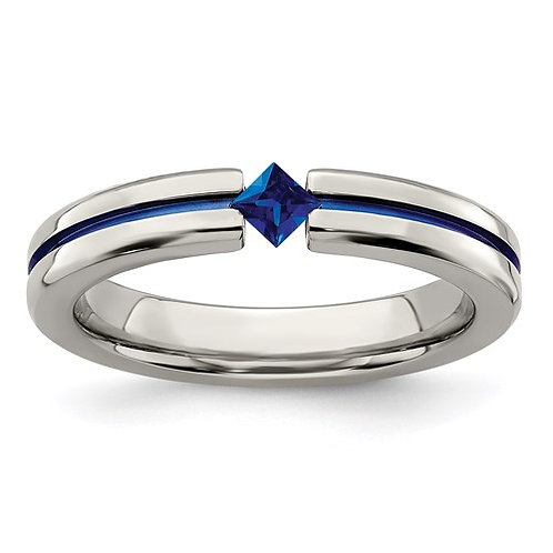 Edward Mirell Titanium Sapphire And Blue Anodized 4mm Band