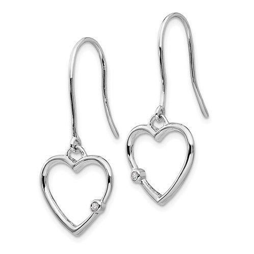 White Ice Heart Dangle Earrings