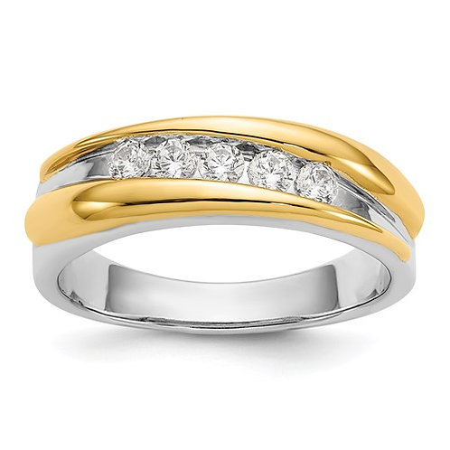 14K Two Tone Gold Mens Diamond Band