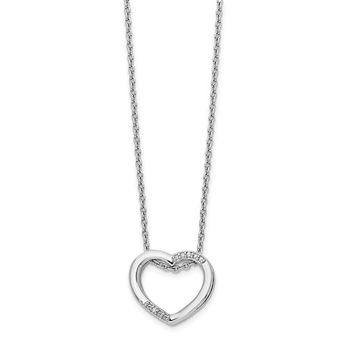 White Ice Heart Slide Necklace