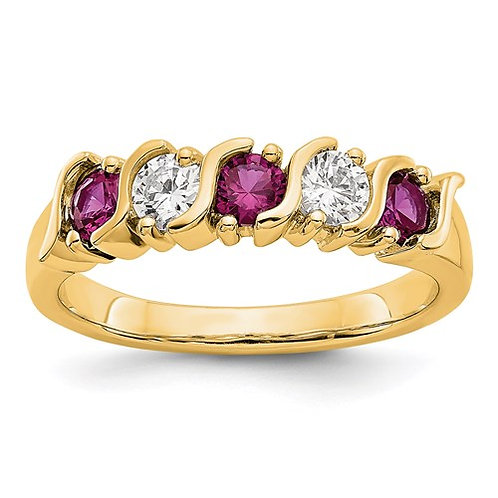 14k Yellow Gold Diamond With Ruby Band