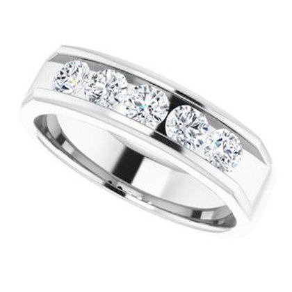 14K White 1.125 CTW Mens Diamond Wedding Band