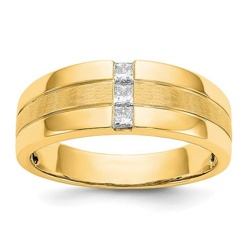 14k Mens Diamond Polished And Satin Ring