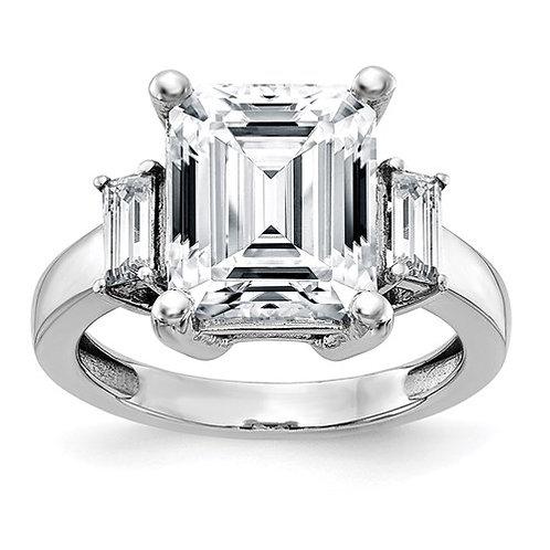 14K Gold 3-Stone Engagement Ring Pure Light Moissanite