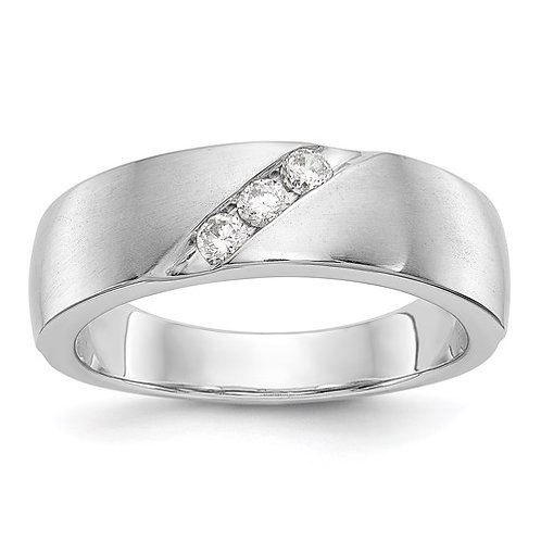 14K White Gold .21ct Diamond Men's Band