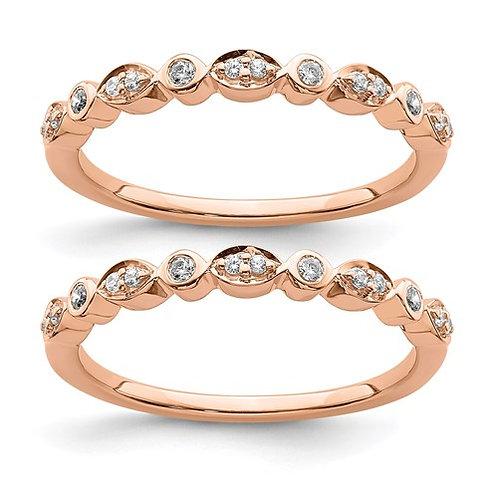 14k Rose Gold Diamond Set Of 2 Wedding Bands